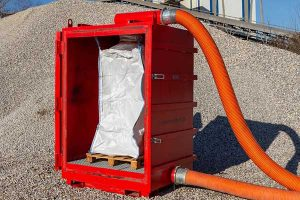 Environmentally sensitive materials placed directly into storage bags during removal process