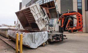 Debris place into storage bins