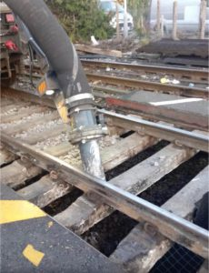 Clearing rail ballast for maintenance work